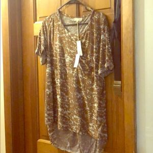 Short sleeve long brown with sheer white spots!